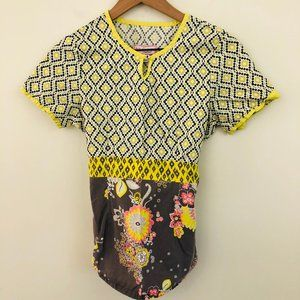 KOI Yellow Gray Floral Nursing Scrubs Top Small